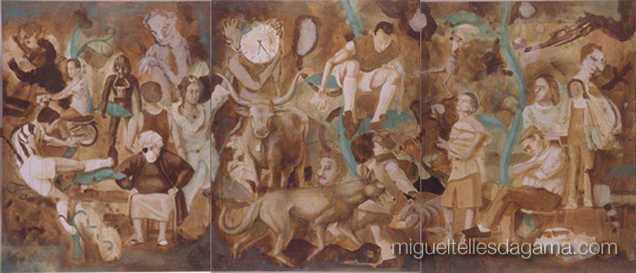 No País dos Feijoeiros Mágicos, Tríptico, Acrílico sobre tela (144 x 329 cm)