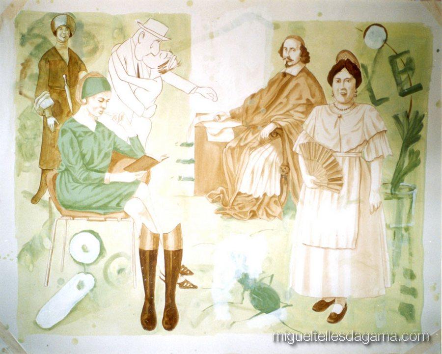 A Víuva de Queluz, Acrílico sobre papel (120 x 150 cm)