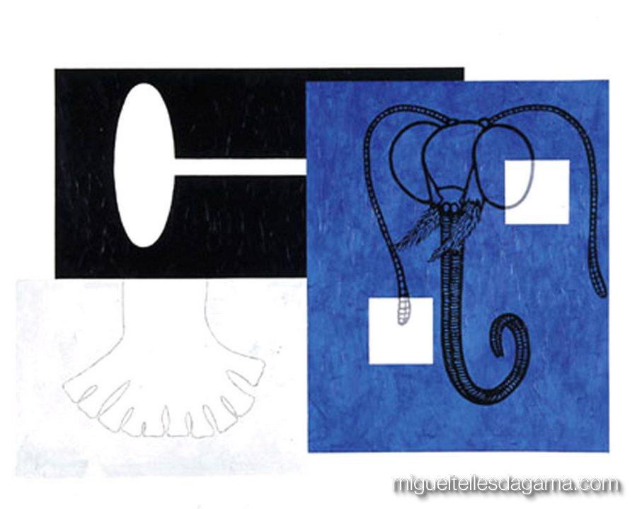 I.IW.AB.M., 2004 - Memória de Elefante, Acrílico sobre papel (120 x 150 cm)