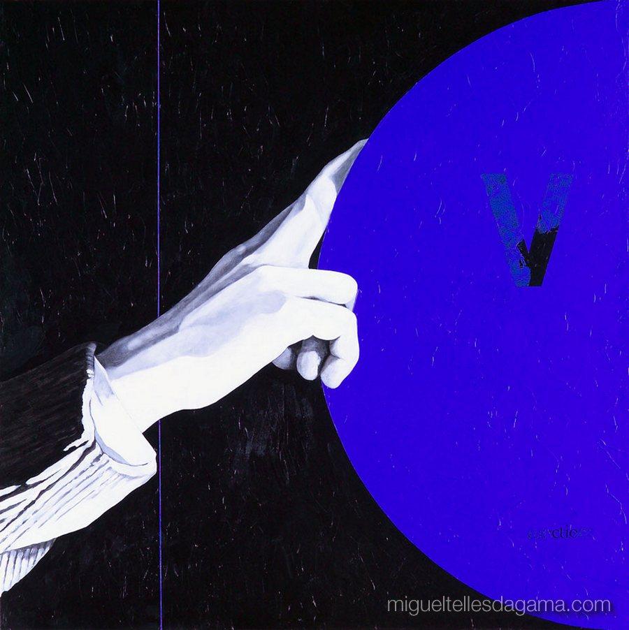 E.R. 2007 - V., Acírilico e verniz sobre tela (100 x 100 cm)