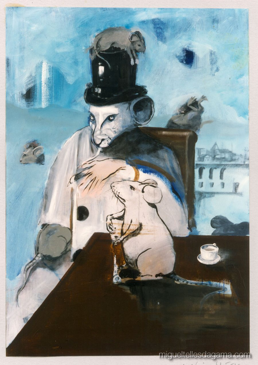 1995 - A Lebre e a Tartaruga, Acrílico sobre tela (120 x 84 cm)
