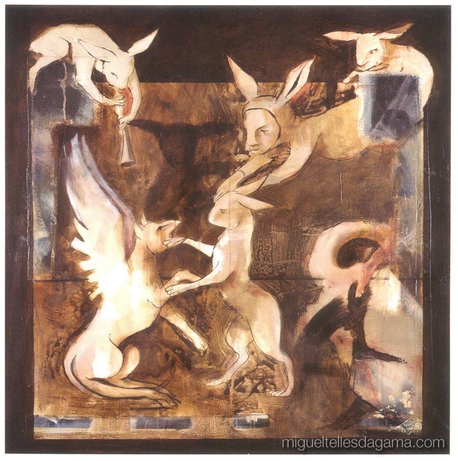 A Lebre e o Grifo, Bailado Imaginário, Acrílico sobre tela (130 x 130 cm)