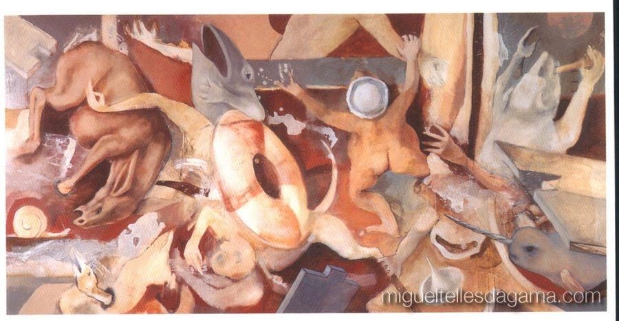Galeria 111, Porto, 1998 - Sem titulo, Acrílico sobre tela (150 x 300 cm)