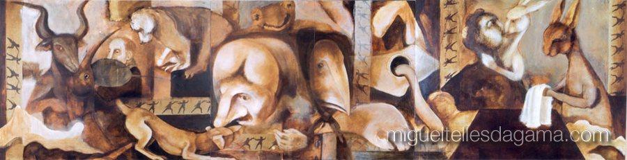 O Sonho de Cyrano, Técnica mista sobre madeira (100 x 390 cm)