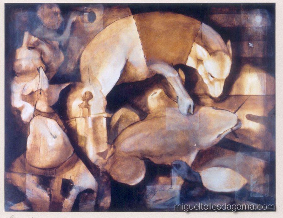 Galeria 111, Porto, 1998 -Rendo-me, Acrílico sobre madeira (100 x 130 cm)