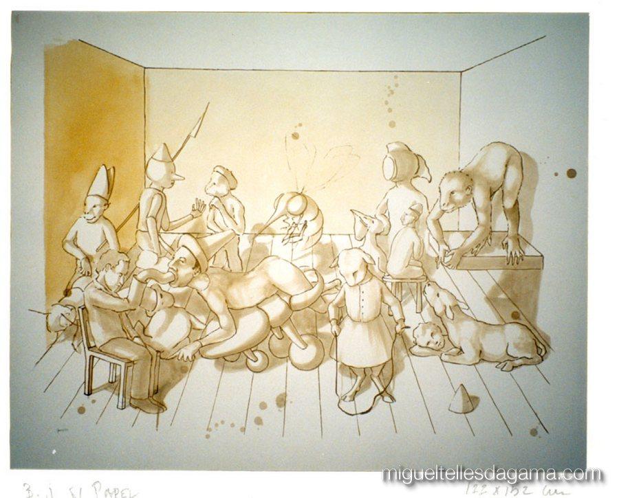 Encenações, 1999 - Betume judaico sobre papel (120 x 150 cm)